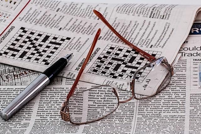 Klassisches nicht individualisiertes Kreuzworträtsel aus einer Zeitung